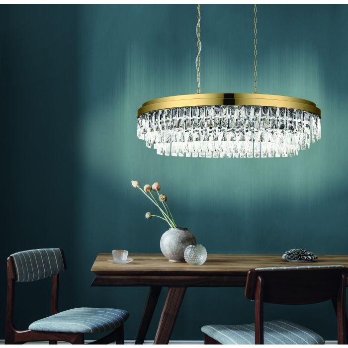 Valparaiso 10 Light Gold and Crystal Pendant Light