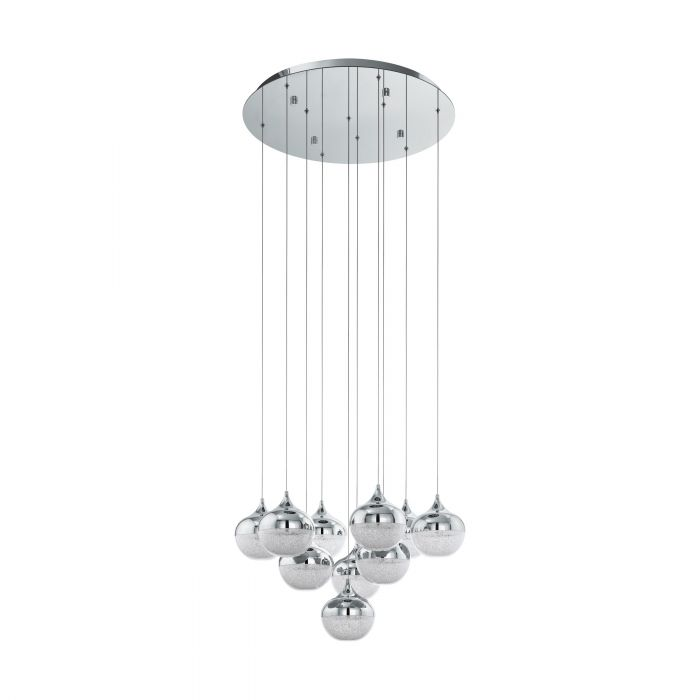 Mioglia 10 Light LED Crushed Granille and Chrome Pendant
