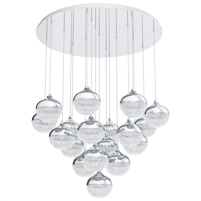 Mioglia 18 Light LED Crushed Granille and Chrome Pendant