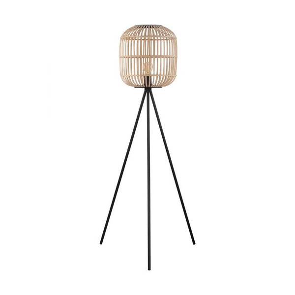 Bordesley Natural Timber with Black Floor Lamp