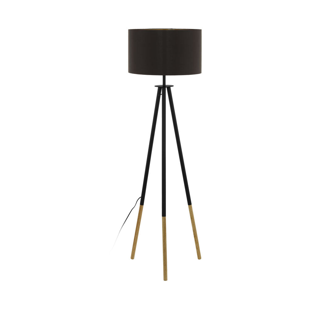 Bidford Brown and Cappuccino Gold Tripod Floor Lamp