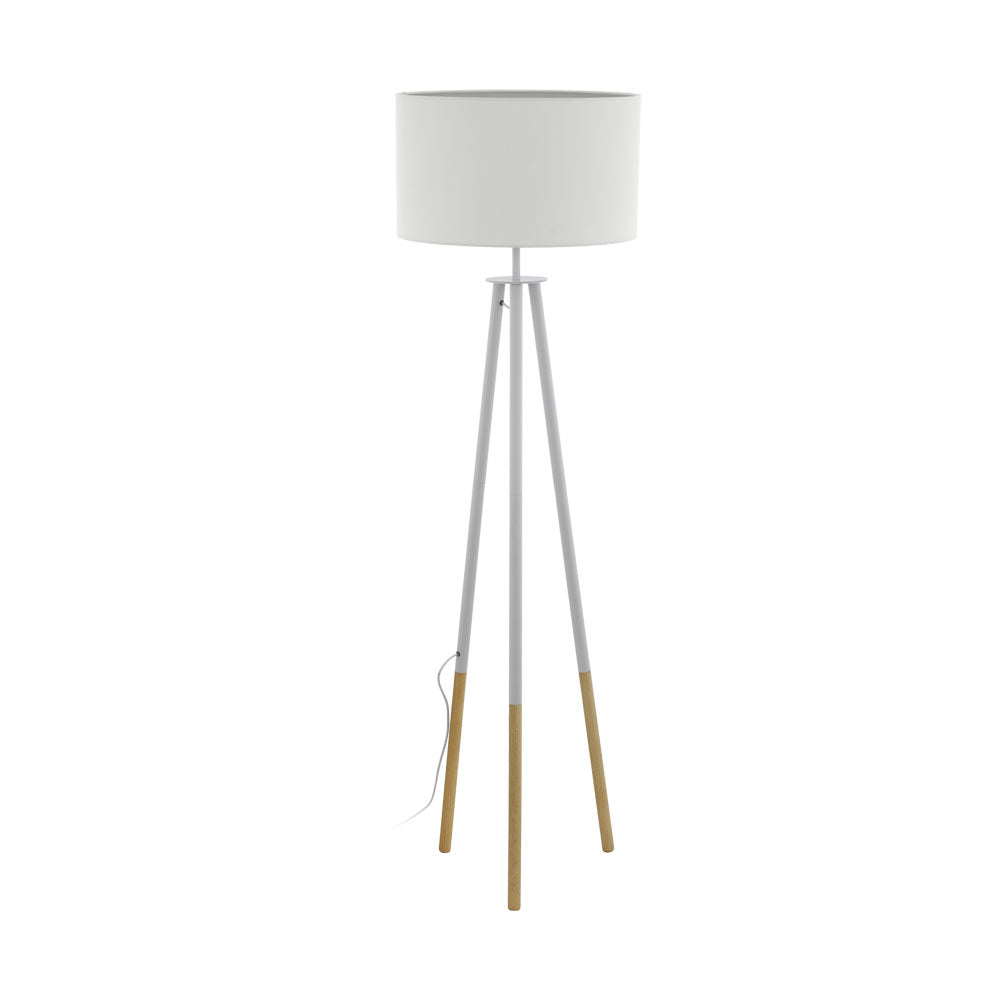 Bidford White and Brown Tripod Floor Lamp