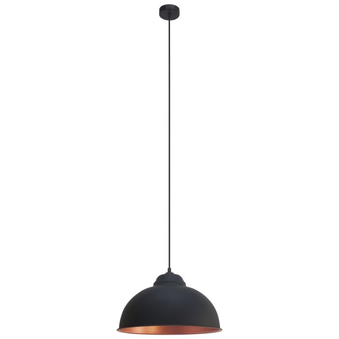 Truro 2 Black and Copper Industrial Pendant