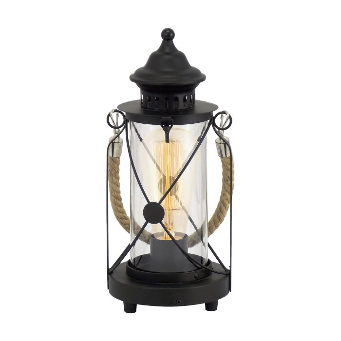 Bradford Rustic Nautical Black and Glass Table Lamp