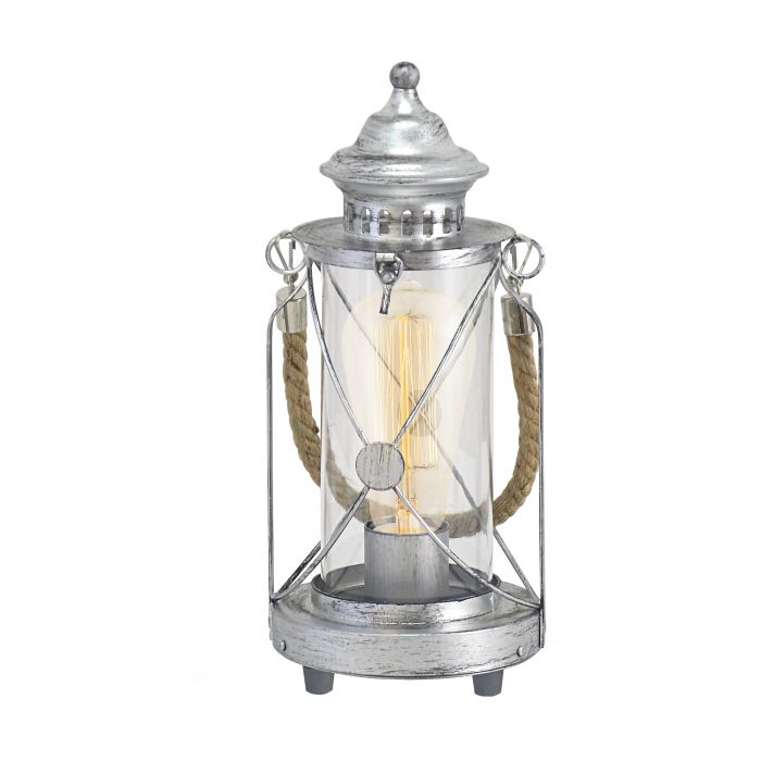 Bradford Rustic Nautical Antique Silver and Glass Table Lamp
