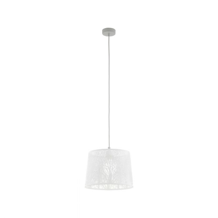 Hambleton Large White with Satin Nickel Modern Laser Cut Pendant
