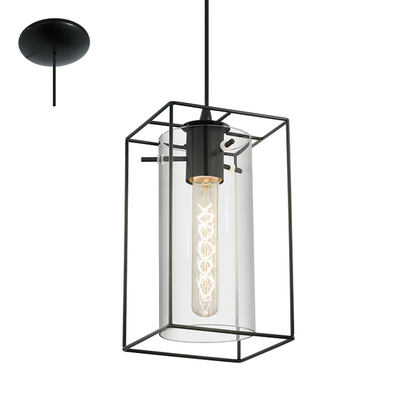 Loncino Box Frame and Smoke Cylinder Glass Pendant