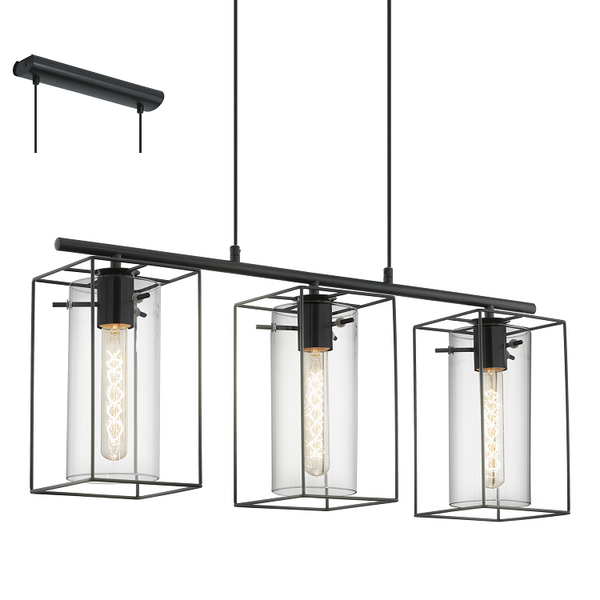 EO 49496 3 Light Bar Box Frame and Smoke Cylinder Glass Pendant
