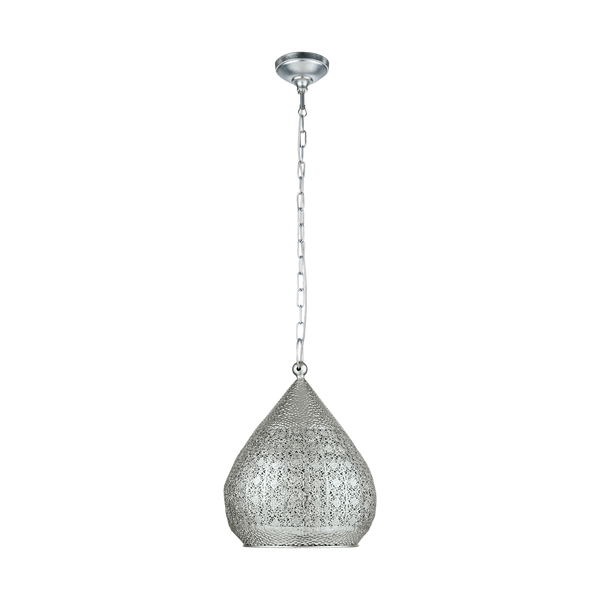 Melilla Large Silver Laser-cut Rustic Turkish Pendant