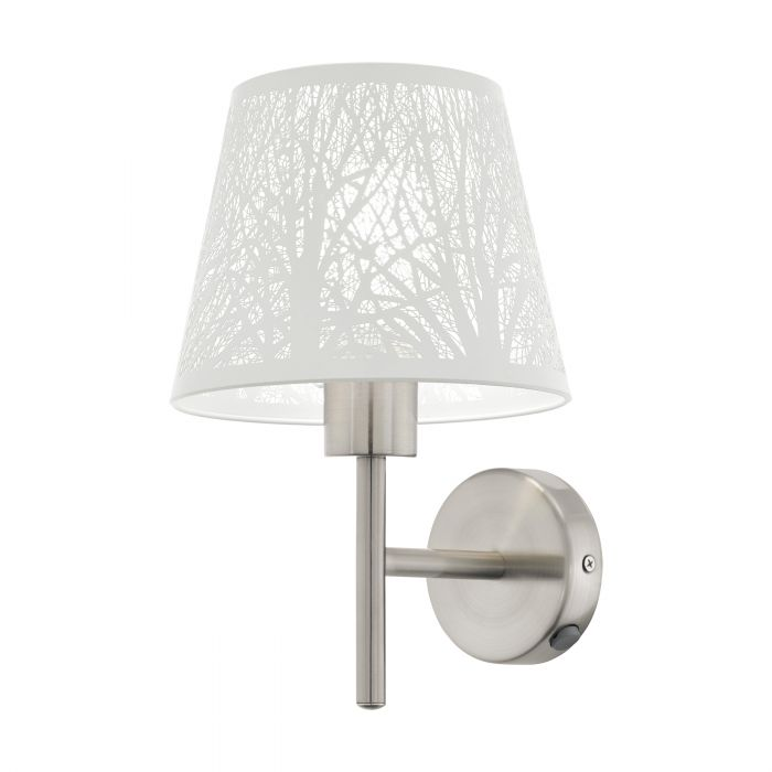 Hambleton White and Satin Nickel Modern Laser Cut  Wall Light