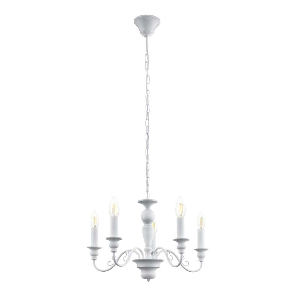 Caposile 5 Light White Vintage Candelabra