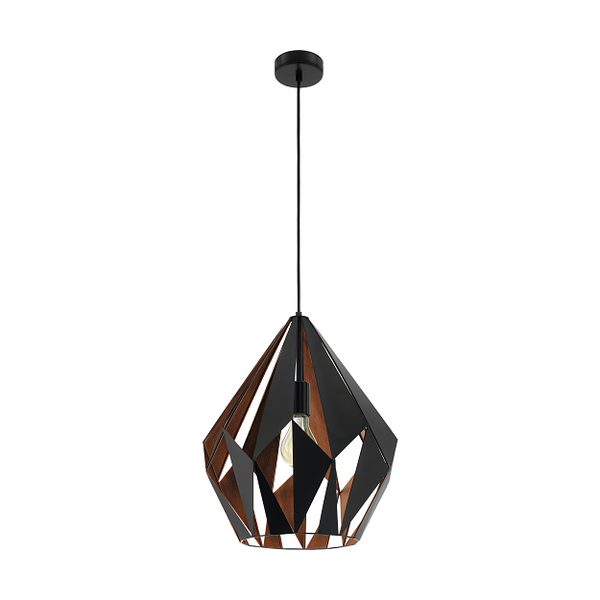 EO 49878 Black/Copper Large Prism Cut Pendant