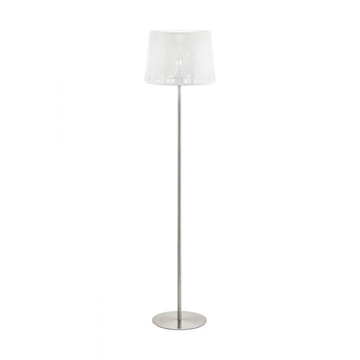 Hambleton White and Satin Nickel Modern Laser Cut Floor Lamp