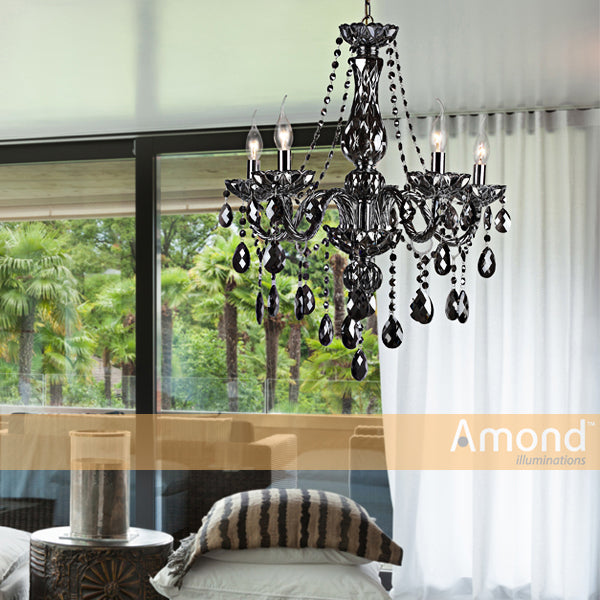 Theresa 5 Light Smoke Candelabra Chandelier by Amond