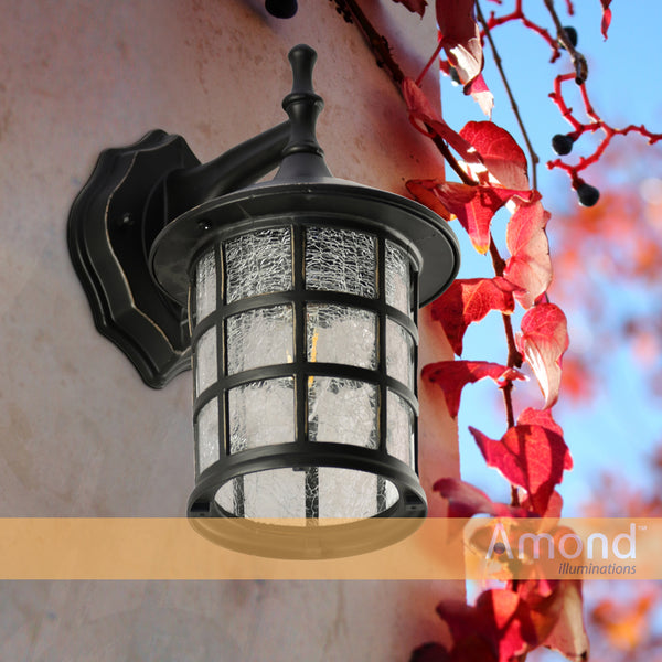 Berwick Black/Bronze Traditional Coach Light With Crackle Glass By Amond