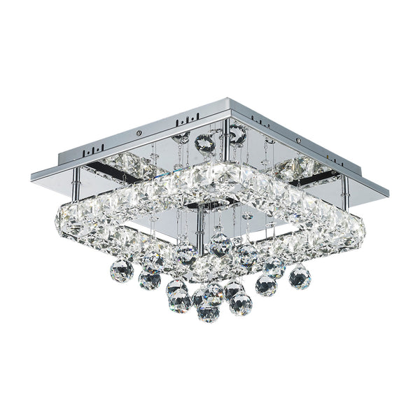 Sorac 18w Square Crystal Frame and Drops LED Ceiling Light