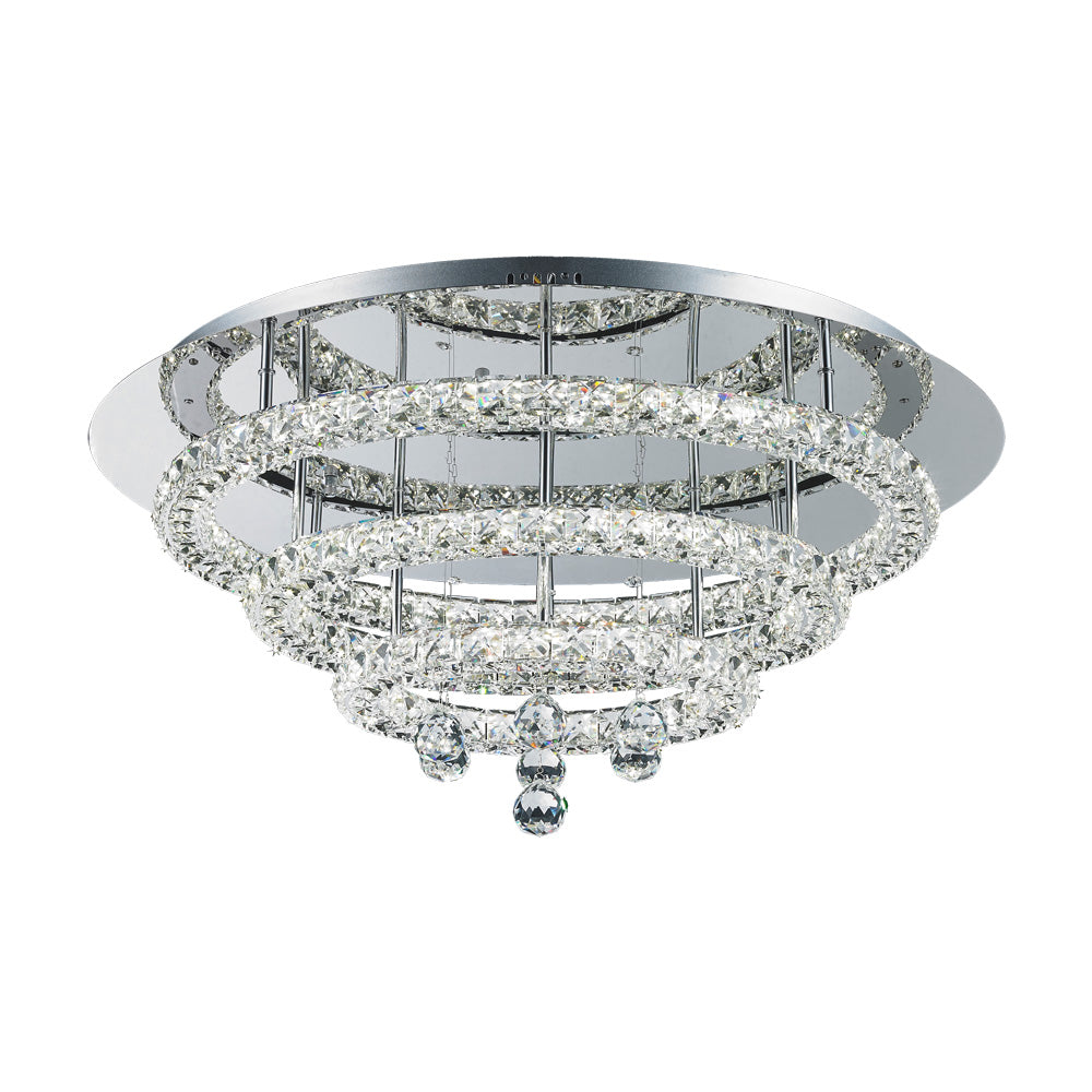 Horos 48wt Multi Tier Round Crystal Frame and Drops LED Ceiling Light