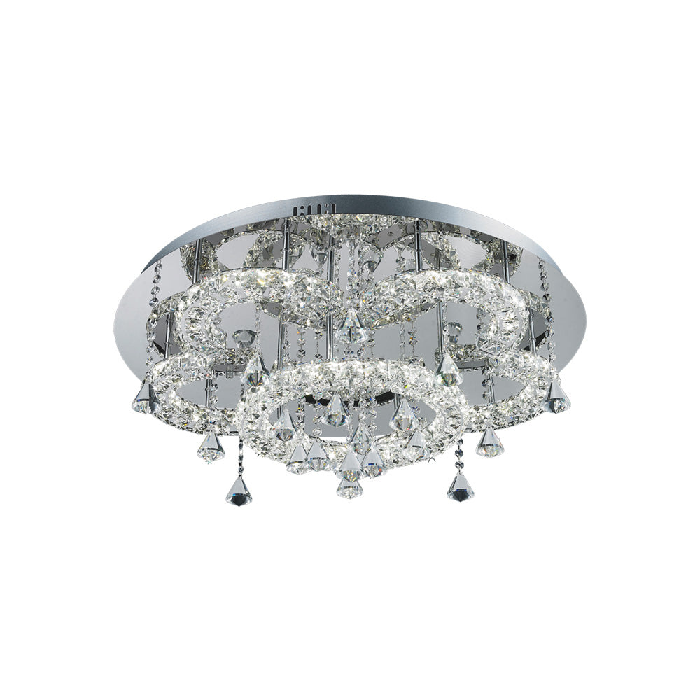 Lugos 39wt Multi Tier Round Crystal Frame and Drops LED Ceiling Light
