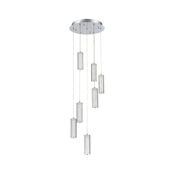 MANIA 7 LIGHT SPIRAL 49W LED CRYSTAL PENDENT LIGHT