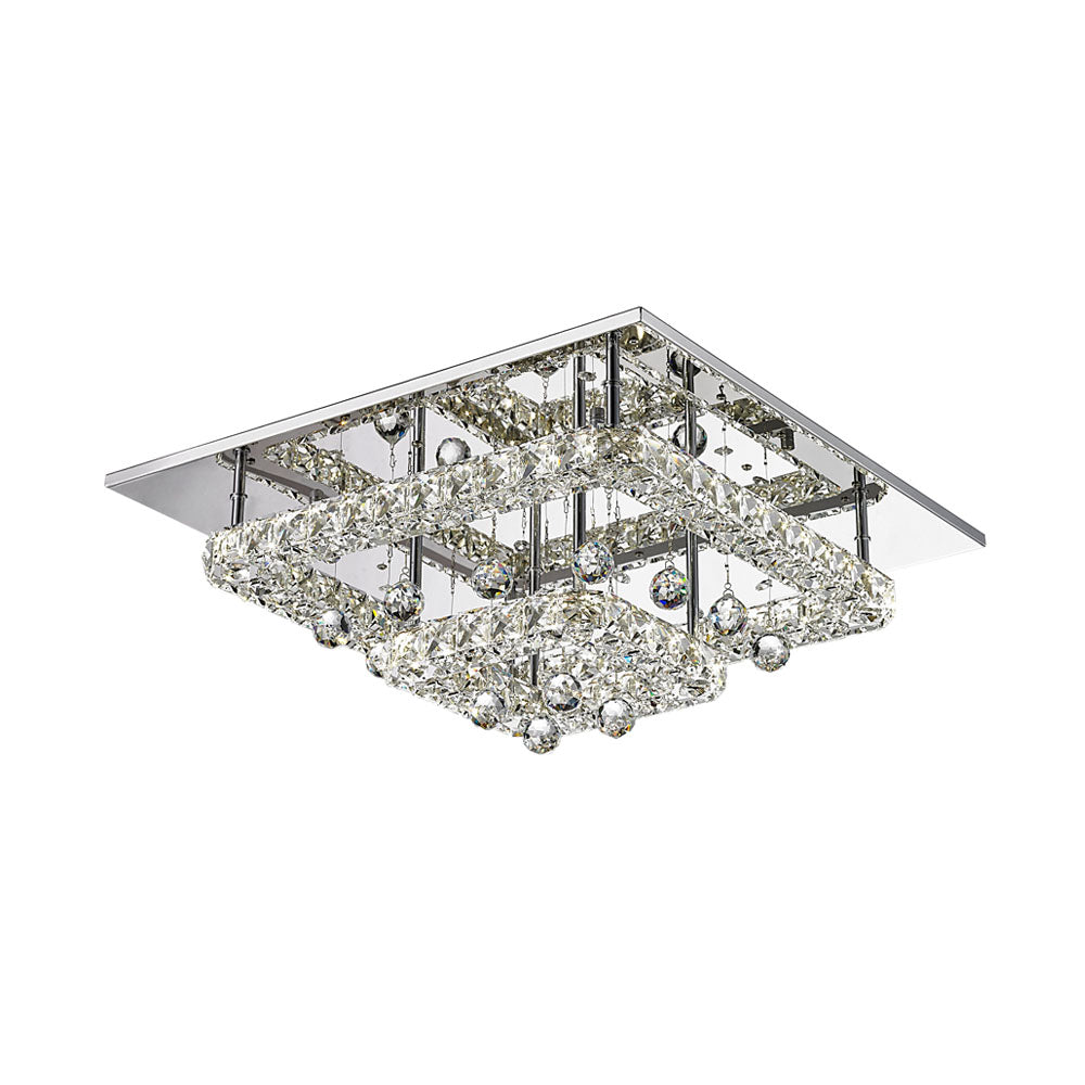 Sorac 36w  Multi Tier Square Crystal Frame and Drops LED Ceiling Light