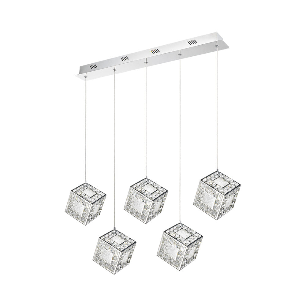 TESSERACT 5 BAR LED CRYSTAL PENDENT LIGHT