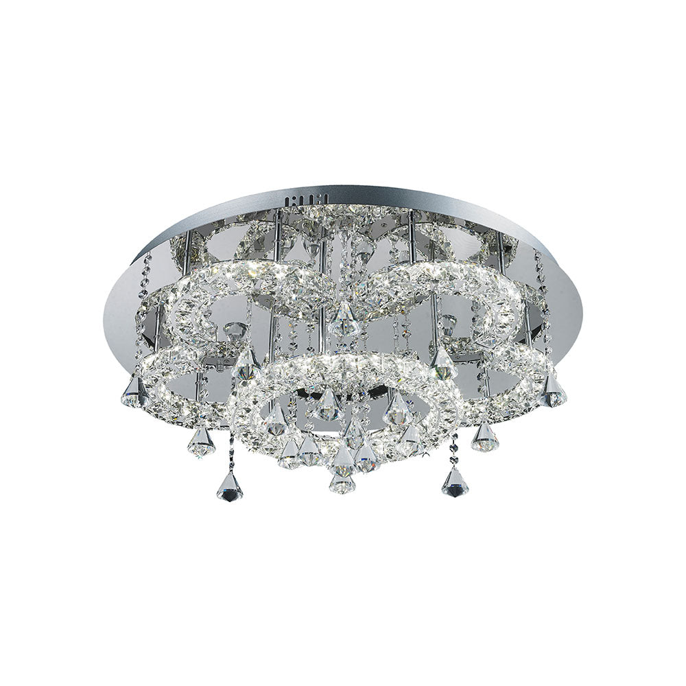 Lugos 45wt Multi Tier Round Crystal Frame and Drops Tri-Colour LED Ceiling Light