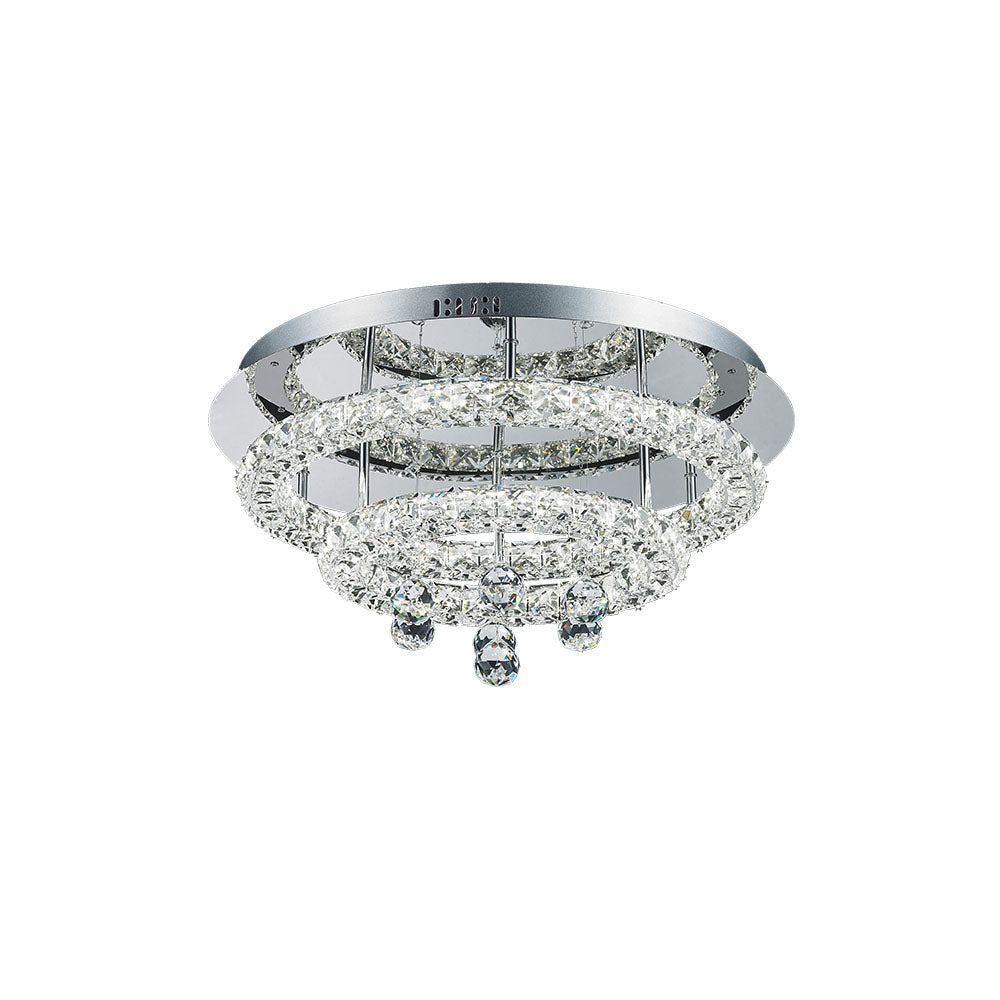 Horos 40w Two Tier Round Crystal Frame and Drops Tri-Colour LED Ceiling Light