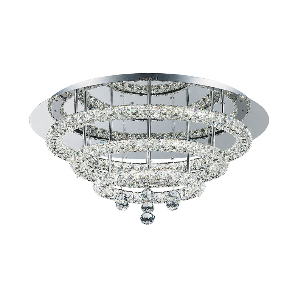 Horos 56wt Three Tier Round Crystal Frame and Drops Tri-Colour LED Ceiling Light