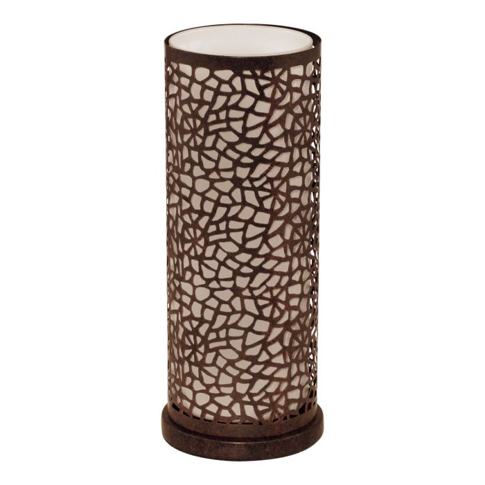 Almera Dark Brown Laser Cut Crackle Frame and Glass Table Lamp