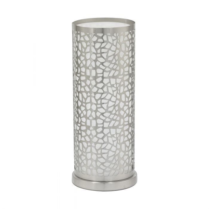 Almera 1 Nickel Laser Cut Crackle Frame and Glass Table Lamp