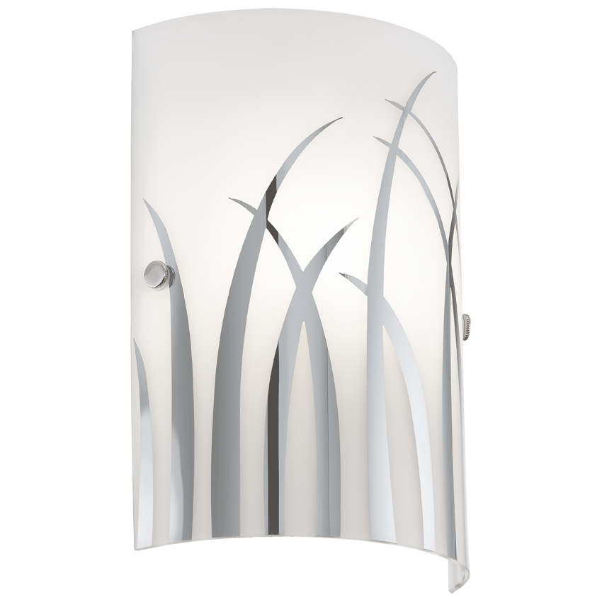 Rivato Chrome Grass Print Wall Sconce Light
