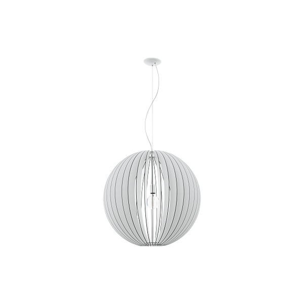 EO 94441 Cossano White Large Slatted Timber Sphere Pendant