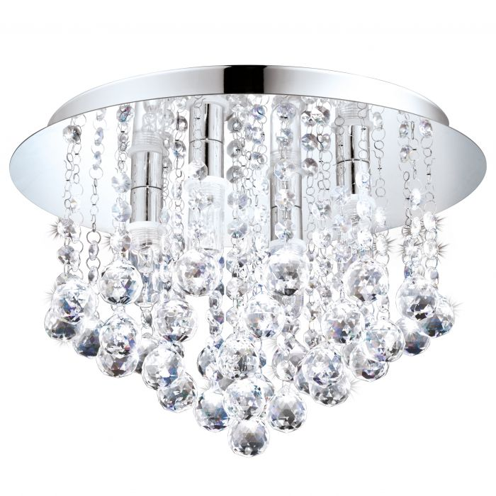Almonte 350 Chrome and Crystal Close to Ceiling Chandelier