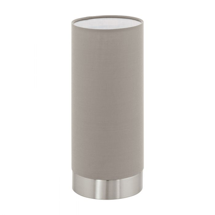 Pasteri Nickel and Taupe Fabric Shade Touch Table Lamp