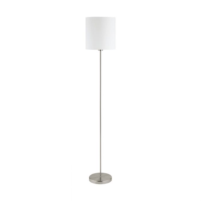 Pasteri Nickel and White Fabric Shade Floor Lamp