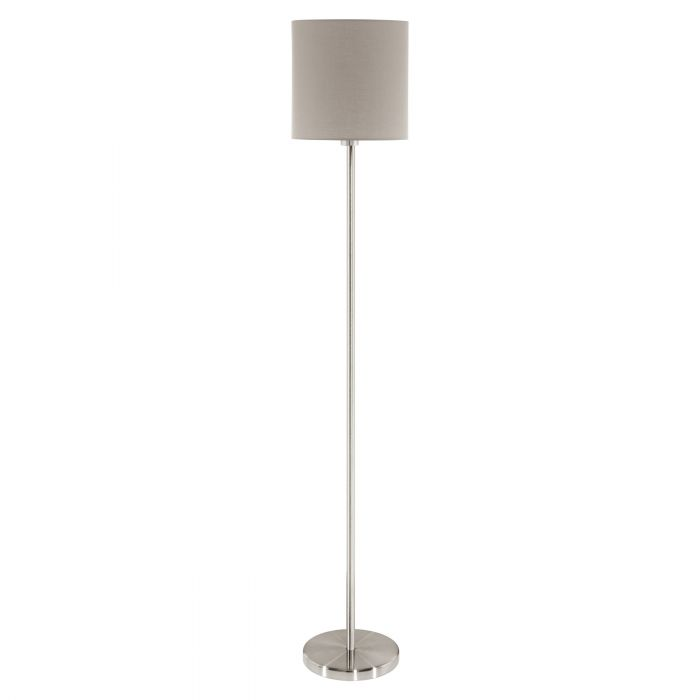 Pasteri Nickel and Taupe Fabric Shade Floor Lamp