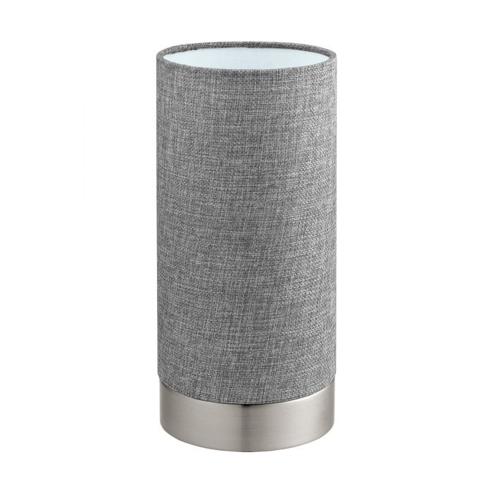 Pasteri Nickel and Grey Fabric Shade Touch Table Lamp