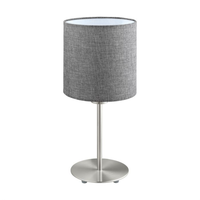 Pasteri Nickel and Grey Fabric Shade Table Lamp