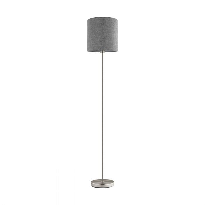 Pasteri Nickel and Grey Fabric Shade Floor Lamp