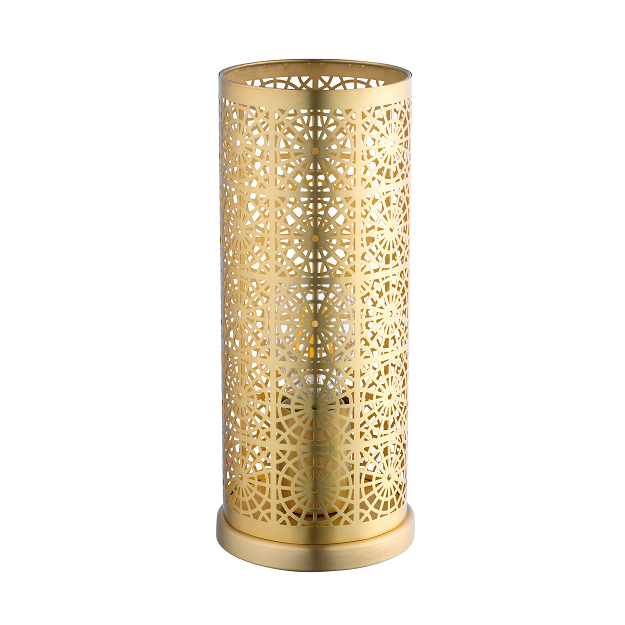 EO 96991N Satin Brass Radial Laser Cut Cylinder Table Lamp
