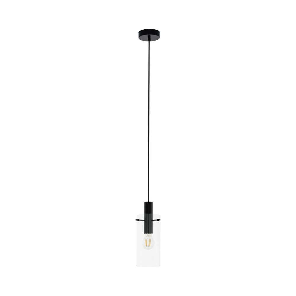 EO 97366 Montefino Clear Glass Cylinder and Black Pendant