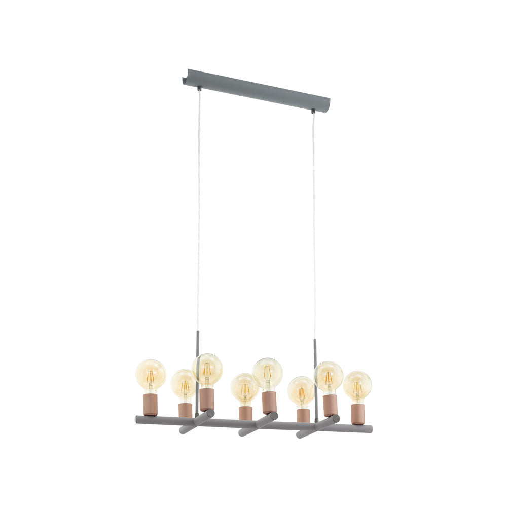 Adri 2 Grey and Rose Multi Globe 8 Light Pendant
