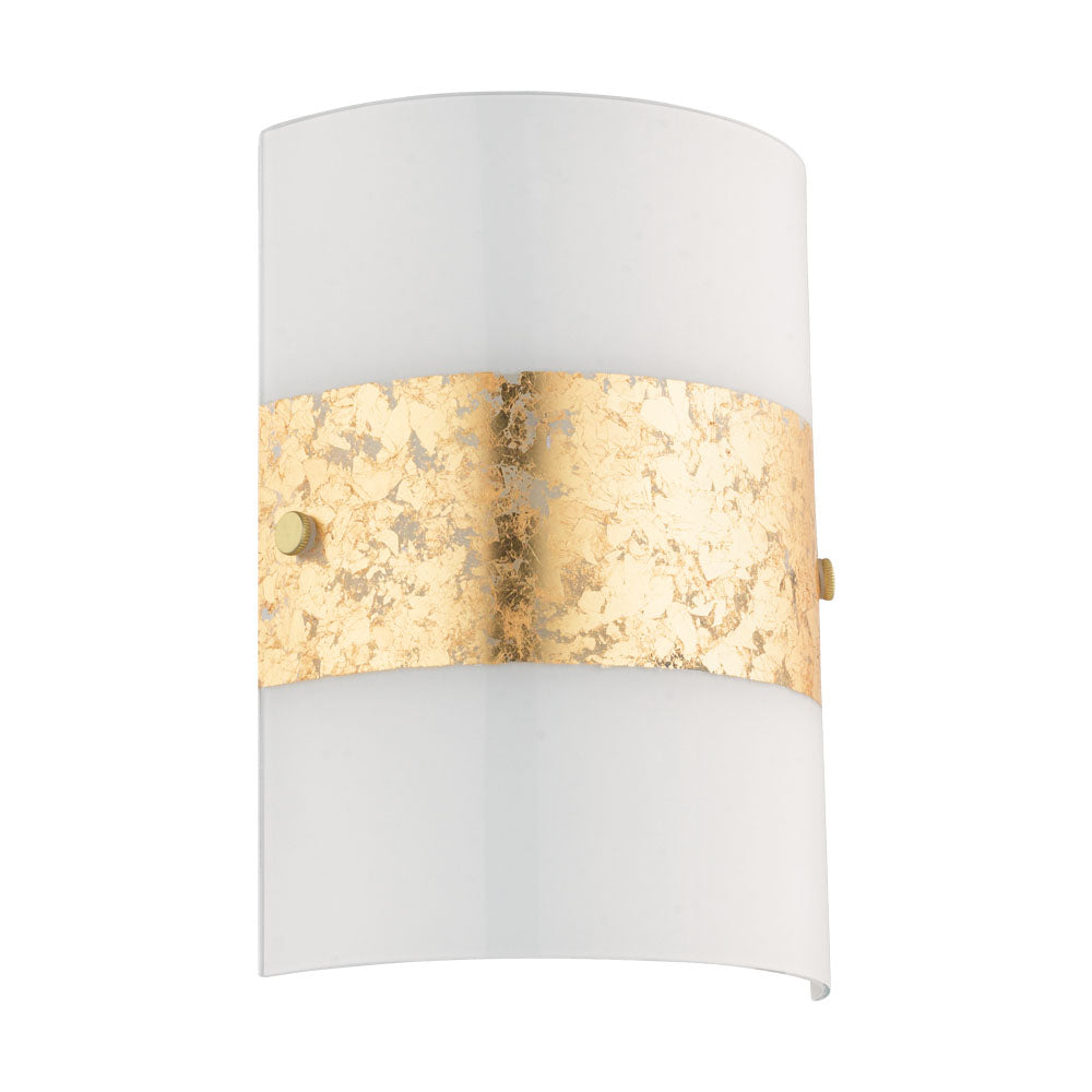 Fiumana Rounded White and Gold Glass Wall Light