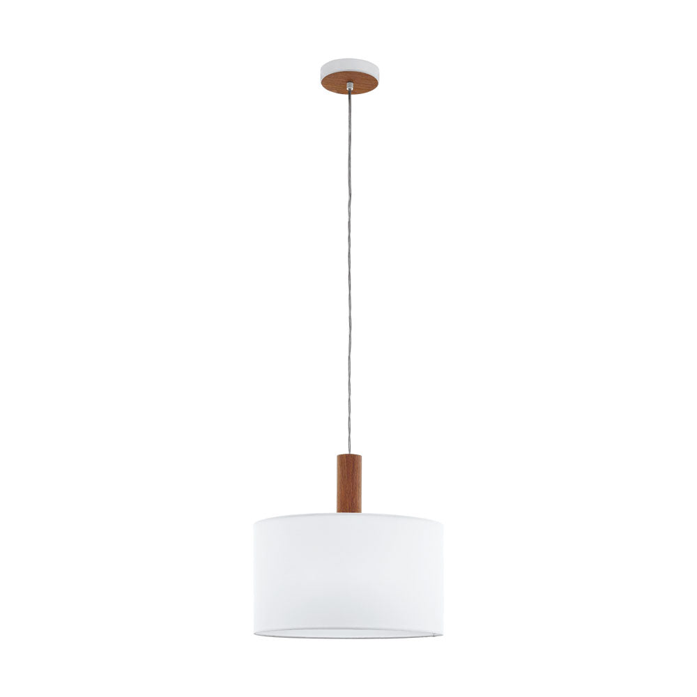 Concessa 3 Timber and 380 White Drum Shade Pendant