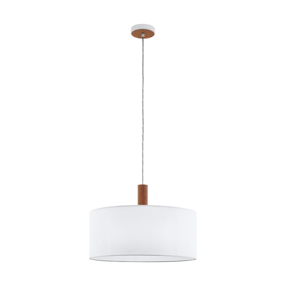 Concessa 3 Timber and 530 White Drum Shade Pendant