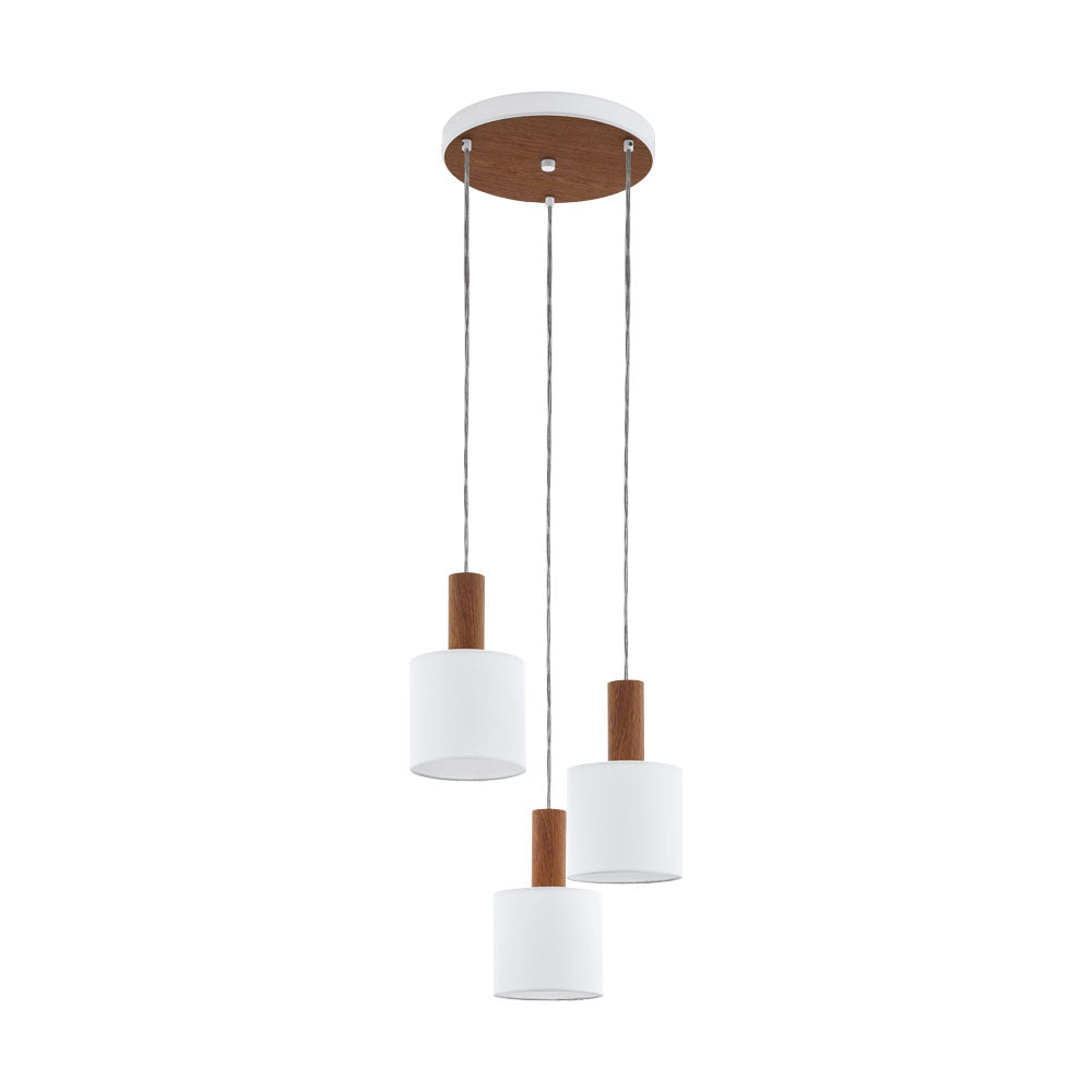 Concessa 3 Cluster Timber and White Drum Shade Pendant