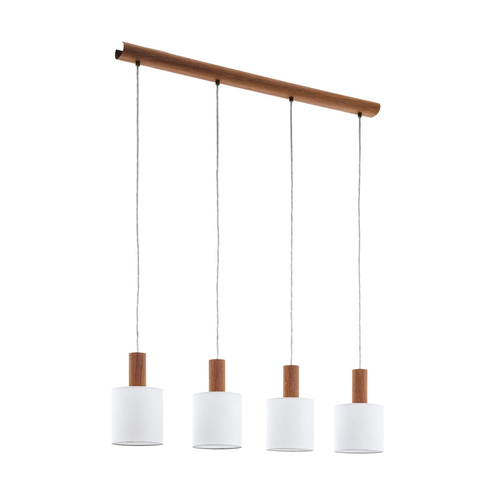 Concessa 3 Timber and White Drum Shade 4 Bar Pendant