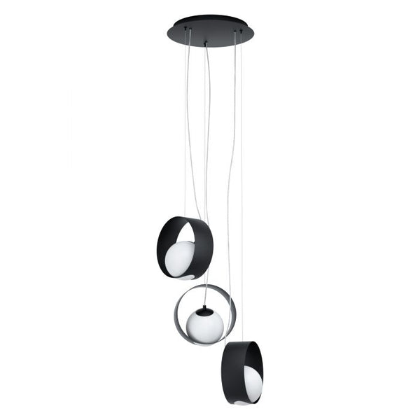 Camargo 3 Light Black and Opal Glass Modern Pendant
