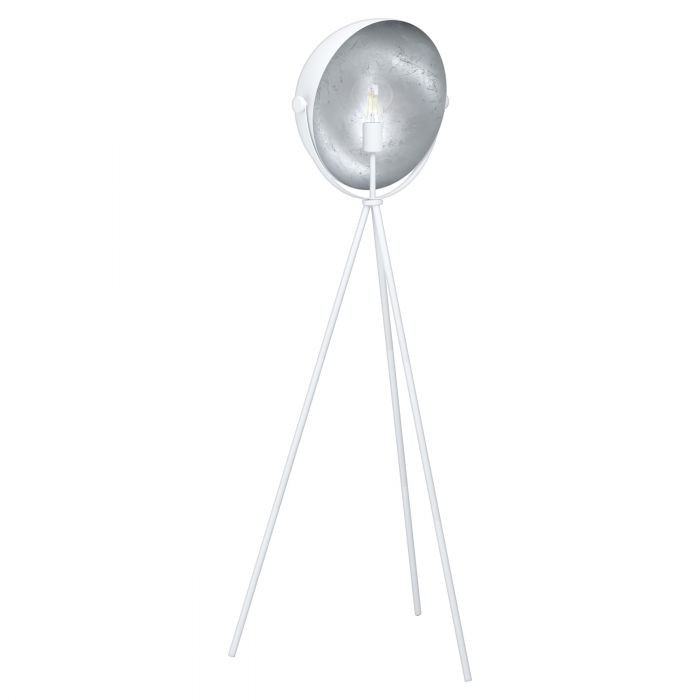 Darnius White and Silver Tripod Drum Floor Lamp