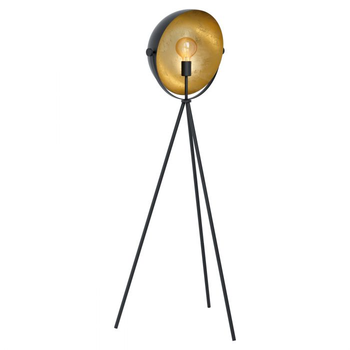 Darnius Black and Gold Tripod Drum Floor Lamp